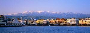 View from sea of Chania, old Venetian harbour and Levka range in the background, Crete, Greece  -  Bernard Castelein