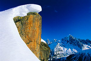Mountain landscape with snow, Aiguille Verte from Le Brevent, nr Chamonix, Alps, France  -  David Noton