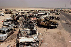 Iraqi vehicles destroyed by allied fire on road to Basra, Iraq, in 1st Gulf War, Kuwait 1990  -  Ross Couper-Johnston