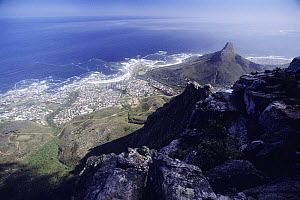 View from Table mountain of Lions head peak and Cape Town, South Africa  -  Jabruson