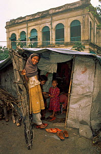 Family living in tiny shack, street scene from Calcutta, West Bengal, India - Pete Oxford