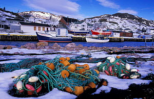 Fishing boats and nets, Petty harbour, Newfoundland, Canada  -  Niall Benvie