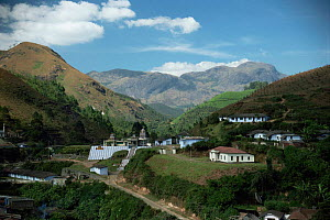 Munnar town overshadowed by Anaj-Mudi, S India's highest mountain, Western Ghats, Kerala.  -  Ian Lockwood