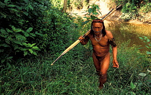 Yaminahua indian with bow and arrow, Boca mishagua river, Peru (first contacted in 1988)  -  Pete Oxford