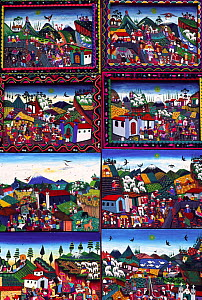 Traditional paintings for sale, Otovalo, Ecuador  -  Pete Oxford