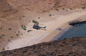 French army arriving by helicopter on Seven Brothers Is, Djibouti, East Africa  -  Marguerite Smits Van Oyen