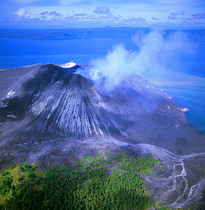 Aerial view of Tuvurvur volcano, East New Britain, Papua New Guinea  -  Michael Pitts