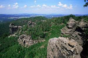 Overlooking woodland with rocky outcrops, near  Gohrisch village, Saxonia, Germany  -  Christoph Becker