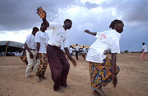 Traditinal dancing at giraffe  cup football final in aid of Niger's giraffe sub-species. - Christophe Courteau