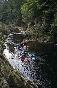 Canoeists navigate white water rapids, North Esk River, Scotland - Brian Lightfoot