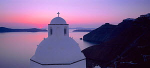 Traditional domes of Santorini at sunset, The Cyclades, Greece  -  Gavin Hellier
