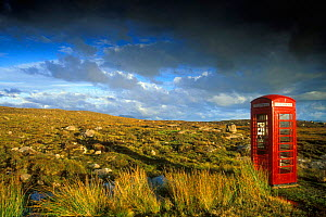 Isolated old fashioned telephone booth on moorland Highlands Scotland UK  -  Philippe Clement