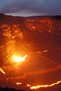 Lava flow from Kilauea Volcano meets Pacific Ocean Hawaii Volcanoes NP world's most active volcano  -  Photo Resource Hawaii