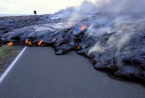Lava flow from Kilauea Volcano on road Hawaii Volcanoes NP world's most active volcano  -  Photo Resource Hawaii
