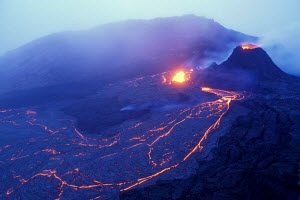 Aerial view of Lava flow from Kilauea world's most active volcano Big Island Hawai  -  Photo Resource Hawaii