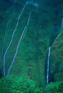 Waterfall near Waialeale near Blue Hole Wailua River Kauai Hawaii  -  Photo Resource Hawaii