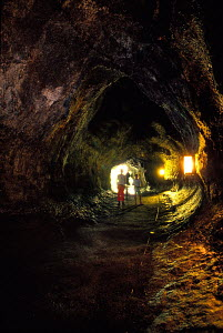 People exploring interior of Thurston's lava tube Hawaii volcano NP Big Island  -  Photo Resource Hawaii