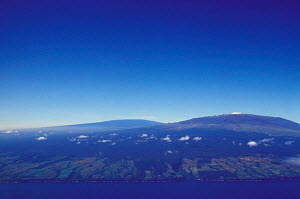 Aerial view of snow capped Mauna Kea with Mauna Loa behind Big Island Hawaii  -  Photo Resource Hawaii