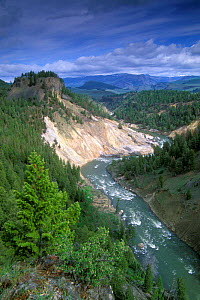 Calcite springs and the Yellowstone river, Yellowstone NP, Wyoming, USA  -  Philippe Clement