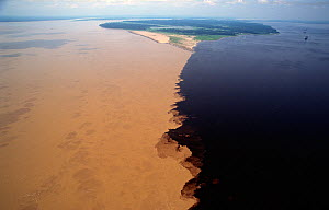 Water from Rio Solimoes meeting darker water of the Rio Negros, Amazonia, Brazil - Michael Pitts