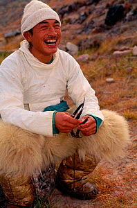Inuit Narwhal hunter with Polar bear skin trousers, Qaanaaq, NW Greenland. - Staffan Widstrand