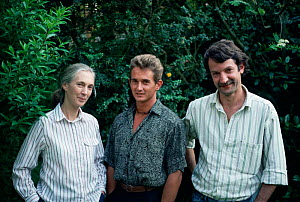 Dr Jane Goodall with her son 'Grub' and Dr Christophe Boesch, 1989  -  IAN REDMOND
