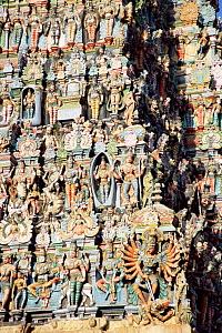 Detail of North Gopura (gateway) Meenakshi Temple, Madurai, Tamil Nadu, India  -  Toby Sinclair