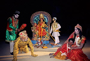 Actors portray the story of Dakshin Rai and Banbibi, Sunderbans, West Bengal, India  -  Toby Sinclair