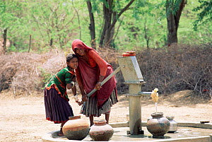 Villagers pumping water, Sirohi district, Rajasthan, India  -  Toby Sinclair