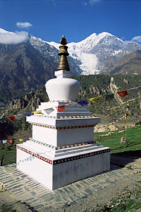 Buddhist shrine, Gompa, high in hills above Manang with Gangapurna behind, Nepal - Andrew Parkinson