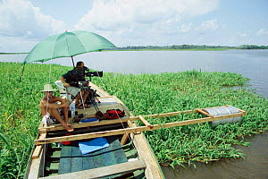 Cameraman Martyn Colbeck filming Boto river dolphins for BBC Planet Earth series, Mamirowa reserve, Brazil 2004 - Conrad Maufe