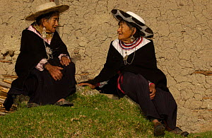 Two Saraguro indian women in traditional dress, Andes, Ecuador  -  Pete Oxford