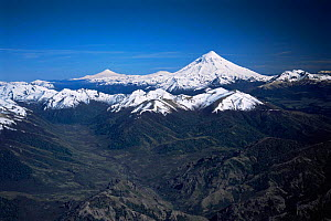Lanin volcano, Lanin National Park, Argentina, with Villarrica volcano, Chile, in background  -  Gabriel Rojo