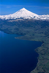 Aerial view of Lake Huechulafquen with Lanin volcano, Lanin National Park, Argentina  -  Gabriel Rojo