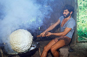 Smoking latex of Rubber tree and extracting rubber ball, Acre, Brazil  -  Luiz Claudio Marigo