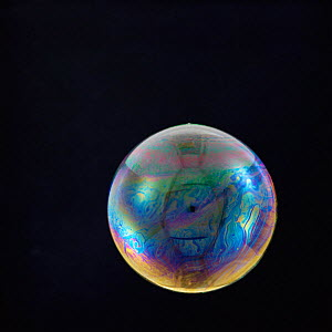 A soap bubble floating in the air - colour refraction on surface  -  Kim Taylor
