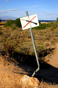 No firearm permitted beyond this point sign, Spain.  -  Jose B. Ruiz