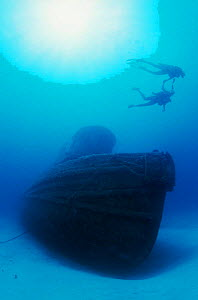 Two Divers at Shipwreck, St Croix, Caribbean  -  Doug Perrine
