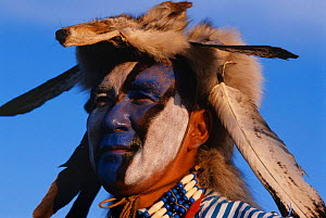 Native American Sioux Indian in traditional costume Fort Quappelle, Saskatchewan,  -  Staffan Widstrand