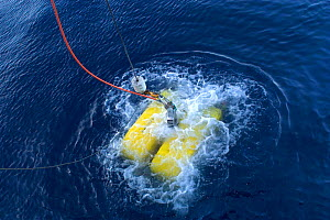 ROV (remotely operated vehicle) Oceanographic sampling gear being launched from deep sea research boat, GO Sars - David Shale