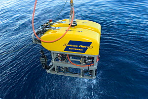 ROV (remotely operated vehicle) Oceanographic sampling gear being recovered to deep sea research boat, GO Sars - David Shale