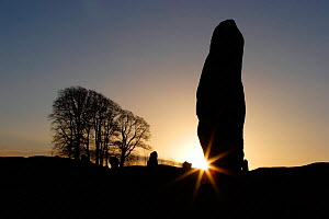 Silhouette of stone megalith at sunrise, Avebury Stone Circle (World Heritage Site) Avebury, Wiltshire, UK - Michael Hutchinson