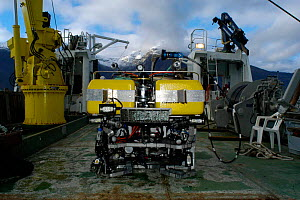 ROV (remotely operated vehicle) aboard RV Hakkon Mosby showing camera and lighting system, Atlantic ocean - David Shale
