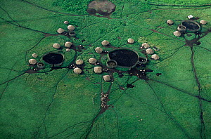 Aerial view of village huts and livestock enclosures, in Crater Highlands, Ngorongoro conservation area, Tanzania.  -  Anup Shah