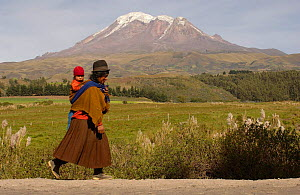 Quichua Indian woman walking and carrying baby on her back. Chimborazo Mountain (6310m) highest mountain in Ecuador. Inactive / extinct volcano, last eruption 10,000 years ago, Andes, Ecuador 2005 - Pete Oxford