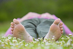 Woman lying barefoot in field of daisies, enjoying nature on a summer day, Cairngorms National Park, Scotland, UK. Soles of feet visible Model released. - Pete Cairns