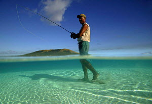 Salt Water Fly Fishing on the sand banks of Tevawa, Fiji. 2004 - Barry Bland