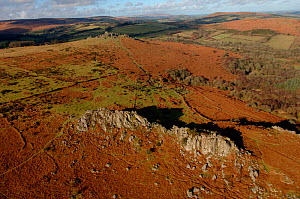 Aerial view of Great Tor Rock with views of Hound Tor in the background. Dartmoor National Park, Devon, UK  -  Dan Burton