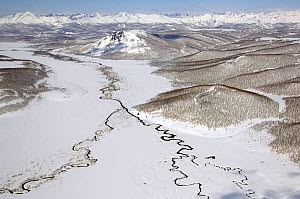 Aerial view of two rivers joining in valley, Kronotsky Zapovednik reserve, Russia.  -  Igor Shpilenok