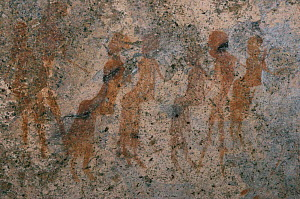 Rock art / cave paintings, people, Namibia.  -  Owen Newman